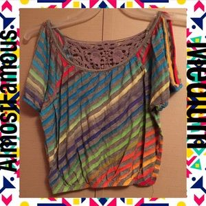 Rainbow Crochet Long Crop Top